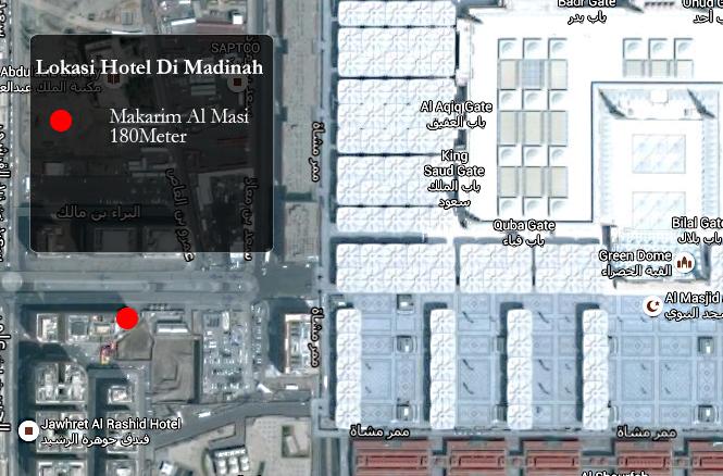 Jarak Hotel Madinah